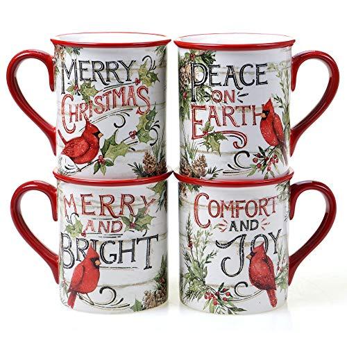 Certified International Evergreen Christmas 16 oz. Mugs, Set of 4, Multicolored