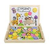 akokie puzzle di legno lavagna magnetica per bambini giochi legno a due lati del tavolo da disegno giochi educativi puzzle bambini 3 4 5 anni (123 pz)