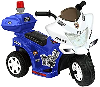 Kidz Motorz Ride On Toys Battery Powered Lil Patrol 6V Battery Powered Motorcycle Color: Blue and White