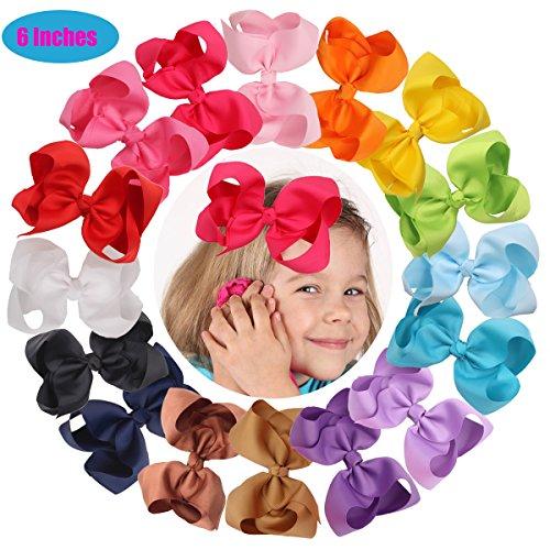 Horquillas para pelo con lazo para niñas (de grograin, 16 unidades, 15 cm), varios colores