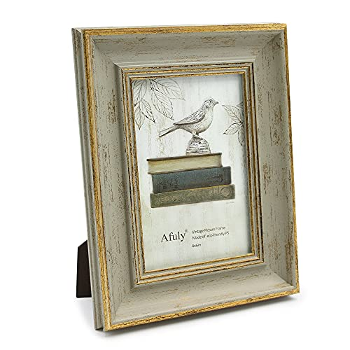 Afuly 10x15 Bilderrahmen Grün in Gold Retro Vintage Antike Shabby Fotorahmen Tabelle Oder Wand Family Eltern Geschenk