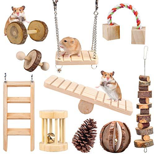 HORYDIA Hamster Zubehör Kauspielzeug 10 Stück Molar Spielzeug Aus Natürliche Holz Für Meerschweinchen Ratten und Chinchillas Zahnpflege.