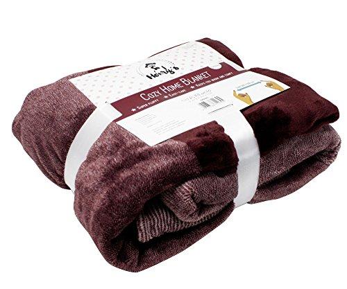 Close Up Henry´s Premium Wohndecke Wolldecke Tagesdecke Bettüberwurf - Hochwertige XL Decke - Plüsch-Kuscheldecke - weiches Fleece, warm & flauschig | 140 x 190 cm | Bordeaux Rot
