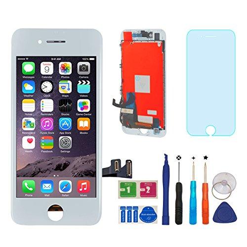 BBSELL LCD Pantalla Táctil Reemplazo De Marco Digital Un Conjunto Completo De Herramientas y Montaje Pantalla De Vidrio Protector Para IPhone 7 4.7 (Blanco)