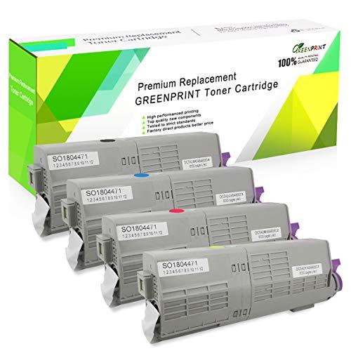 4 Colores Cartuchos de tóner Compatible C532 C542 MC563 MC573 GREENPRINT 7000 Páginas para Negro & 6000 Páginas para C M Y para Impresoras Láser en Color Oki Okidata C532dn C542dn MC563dn MC573dn