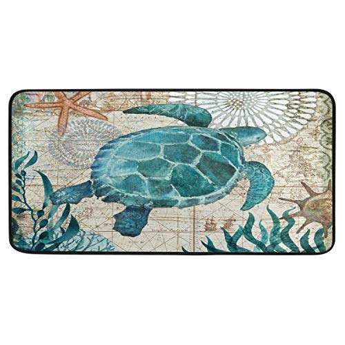 Vdsrup Sea Turtle Retro Map Kitchen Rugs Ocean Starfish Seaweed Kitchen Mat Bath Rug Floor Door Mats Non Slip Doormat Soft Runner Carpet Home Decor 39 X 20 Inch