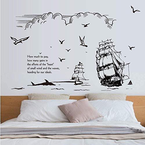 Schwarzweiss-Hand Gezeichnete Skizze Segelschiff Silhouette Wandaufkleber Ozean Himmel Wolke Vogel Wohnzimmer Büro Wanddekoration Aufkleber