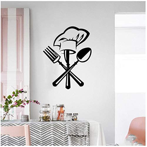 Creative Tableware Knife and Fork Chef hat Kitchen Restaurant Decoration Wall Sticker Mural Decal Wallpaper Home Decoration Sticker