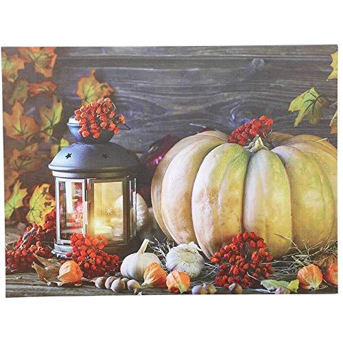 SIDCO LED Wandbild Halloween Kürbis Herbstdeko Wanddeko Laterne Deko leuchtendes Bild