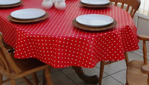 Nappe ovale en PVC/vinyle à pois rouges et blancs 140 x 250 cm