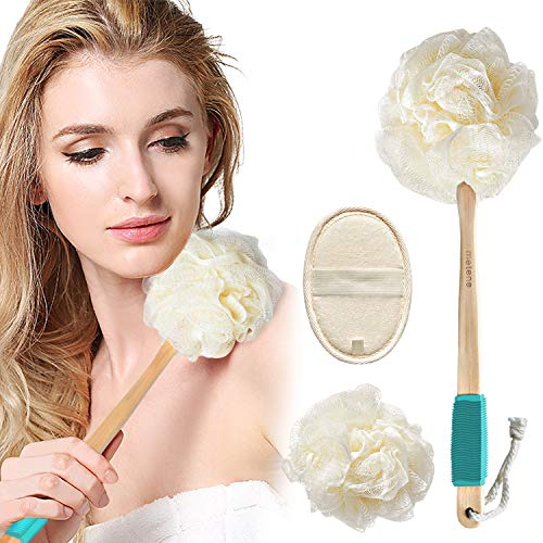 Loofah Sponge Shower Body Brush for Exfoliating 3 in 1 Set Includes Long Handled Back Scrubber Bath Sponge Luffa Ball and Natural Exfoliator Loofah Pad for Men amp Women Body Face and Spa Washing