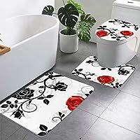 バラプリント3ピースバスルームラグセット、バスルーム、浴槽、シャワー、トイレのふたカバー用の超ソフト滑り止めバスラグぬいぐるみバスマット