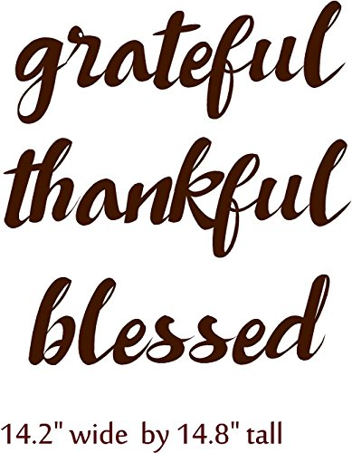 Walls with Style Grateful Thankful Blessed, Vinyl Decal or Vinyl Stencil for Wood Craft Painting, (Dark Brown)