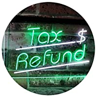 Tax Refund Income Tax Indoor Display Dual Color LED看板 ネオンプレート サイン 標識 白色 + 緑色 600 x 400mm st6s64-i2976-wg