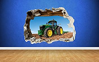 Thorpe Signs Tractor Farm Boys Bedroom Animals Country Smashed Wall Decal 3D Art Stickers  Large  82cm x 58cm