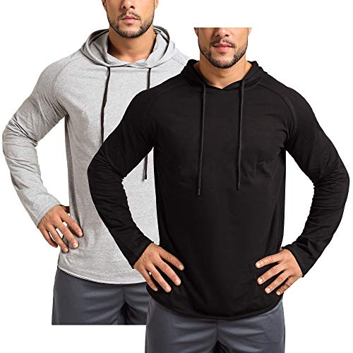 Men's 2 Pack Gym Muscle Long Sleeve Shirts Hoodies Workout Pullover...