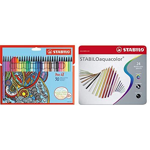 Stabilo Pennarello Premium Pen 68 Astuccio In Cartone Da 30 Colori Assortiti & Matita Colorata Acquarellabile Aquacolor Scatola In Metallo Da 24 Colori Assortiti