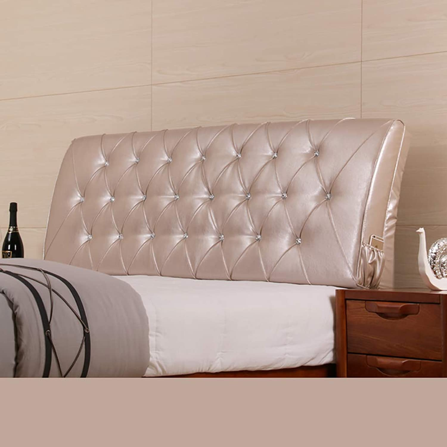 Headboard Bed Backrest Cushion Bed Cushion Bedside Pillow Leather Without Bed headboard Large Soft Pillow Lumbar Support,Detachable 5 Solid colors 8 Sizes (color   Champagne, Size   160  60cm)