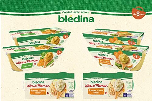 Blédina Idées de Maman : 12 repas bébé dès 8 mois : 4 Pommes de Terre Poulet/ 4 Haricots Verts Carottes Veau/ 4 Purée 3 Légumes (12 x 200 g)