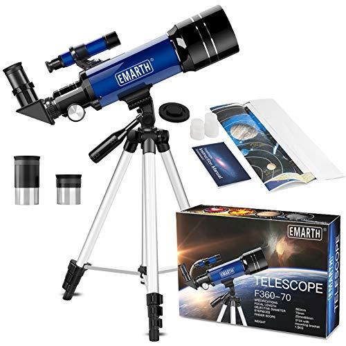 EMARTH Telescope for Kids Beginners Adult, 70mm Astronomical Refractor Telescope...