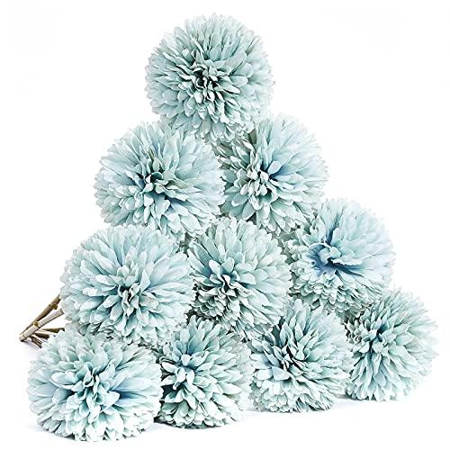 PartyWoo Fleurs artificielles, 10 pièces de fleurs en soie, fausses fleurs bleues, fleurs artificielles de chrysanthème, bouquets de centres de mariage, décoration de la maison (10 pièces, bleu)