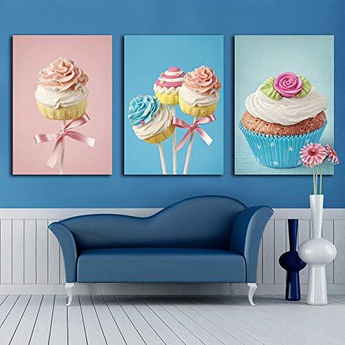 Snoepjes Cake Wall Art Decoratieve Home Schilderen Op Canvas Kleurrijke Cake Muur Foto Voor Kinderen Kinderkamer Decoratie / 30x40cmx3pcs geen frame
