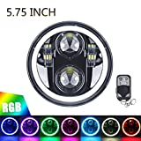5.75' RGB HALO Headlight, ROCCS LED Black Motorcycle 5 3/4' Headlamp with White DRL Multicolor Angel Eyes fit Harley Davidson Dyna Sportster 883 72 48, 1PC