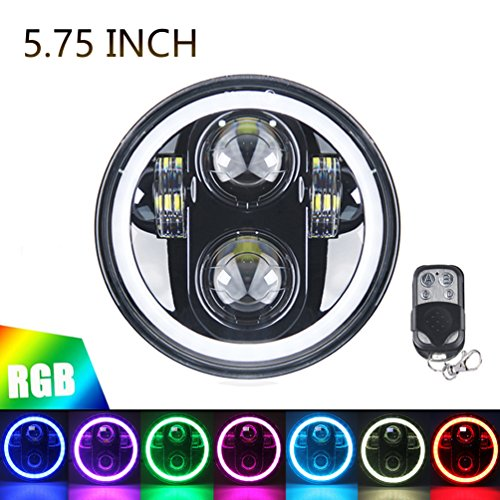 5.75' RGB HALO Headlight, ROCCS LED Black Motorcycle 5 3/4' Headlamp with White DRL Multicolor Angel Eyes fit Harley Davidson Dyna...
