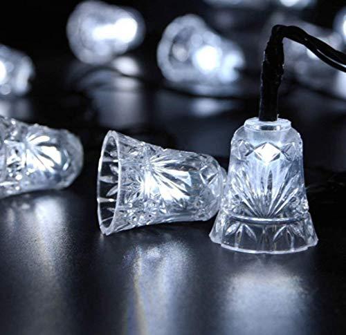 Energía solar 8 funciones fresco blanco al aire libre impermeable campana jardín cadena de luz decorativa 30LED