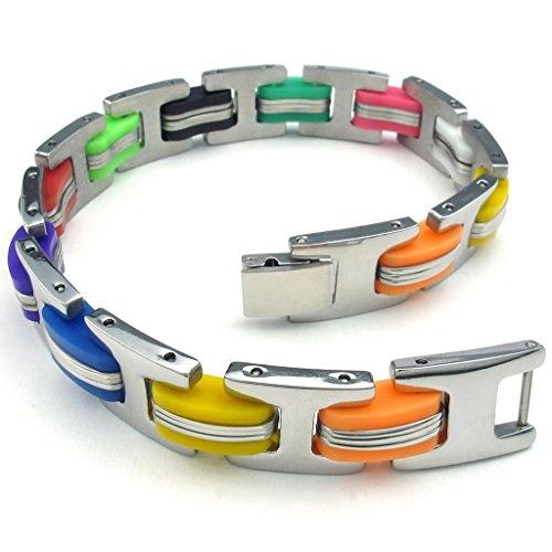 Aienid Für Herren oder Damen Armband S Edelstahl Kandare Armband Silber grau Länge 21.6CM Schmuck