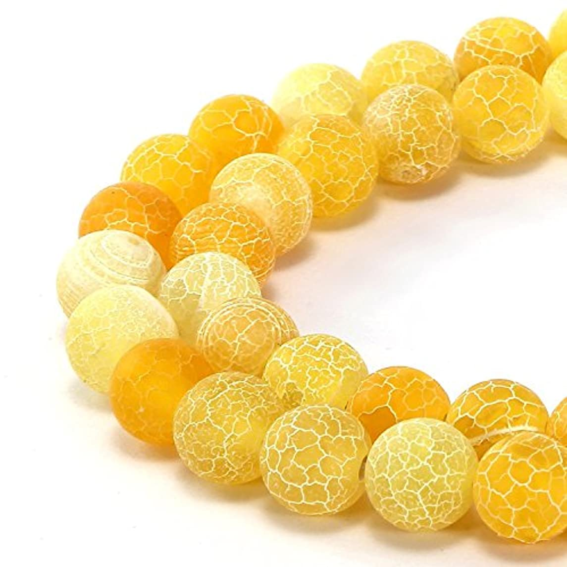 10mm Yellow Frosted Crackle Dragon Vein Agate Beads Round Semi Precious Gemstone Loose Beads for Jewelry Making (38-40pcs/strand)