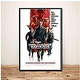 Bxygml Malditos bastardos Quentin Tarantino película clásica Vintage Brad Pitt Arte Lienzo Pintura Cartel Pared decoración del hogar-50x70cm sin Marco