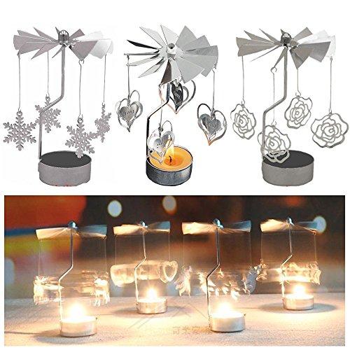 Cosy-YcY Teelicht Kerzenhalter Set, Kerzenhalter für Tisch, Kandelaber Herzstück Set für Home Deco / Party / Hochzeit Dekorationen / Weihnachten Housewarming Geschenk, Spinning Candle Holder