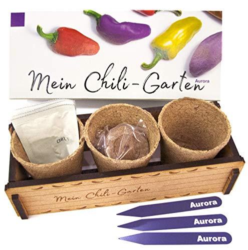 Mein Chili-Garten «Aurora»- Ein originelles Geschenk für jeden Anlass. «Aurora» Chili zum Züchten. Ideales Pflanzset als Geschenk zu Weihnachten, Vatertag, Muttertag, Geburtstag oder Ostern