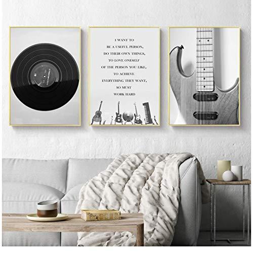 JLFDHR Carteles e Impresiones Pintura en Lienzo Decoración para el hogar Arte de la Pared Retro Negro Blanco Guitarra y CD Imagen Musical Superior para Sala de estar-50x70cmx3 Sin Marco