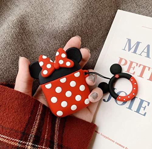 Cocomii 3D Disney AirPods Hülle, Schlank Dünn Matte Sanft Flexibel TPU Silikon Gummi Gel Mit Schlüsselring 3D-Disney-Figuren Karikatur Mode Hülle Bumper Cover Schutzhülle for Apple AirPods (Minnie)