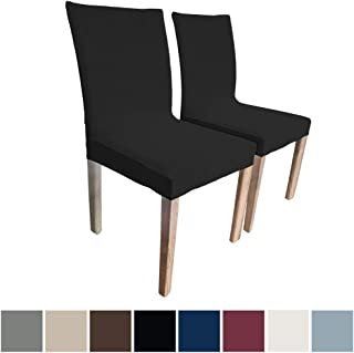 Sofa Shield Original Fitted 1 Piece Slipcover Dining Chair Set of 2, Seat Width to 21.5 Inch, Soft Stretch Material, Machine Washable Furniture Protector Cover Protects from Food Stains, Kids, Black