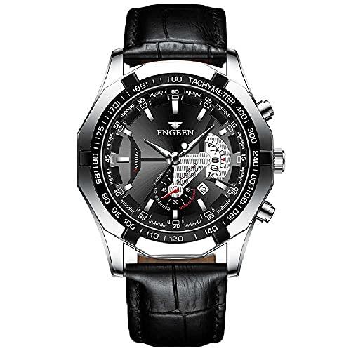 N\C Reloj Reloj Impermeable No Mecánico Reloj De Esfera Grande Reloj Grande De Nuevo Concepto Calendario Red Reloj Rojo Negro Piel-Blanco Acero-Negro Superficie