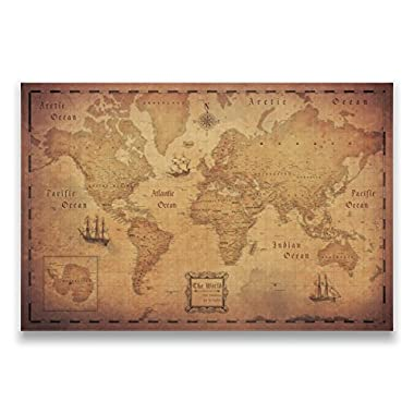 Conquest Maps Map with Pins - World Travel Map Golden Aged Style Push Pin Travel Map Cork Board, Track Your Travels Pinable Canvas Map with Cork Backing, Internal Framed (36 x 24 Inches)