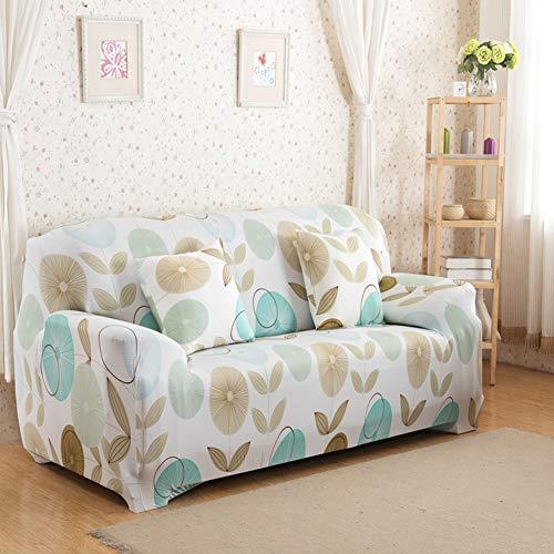 ENCOFT 1/2/3/4 Sitzer Sofabezug Sofaüberwurf Stretch weich elastisch farbecht Blumen-Muster Beige 4 Sitzer 235-300cm mit 2 Kissenbezügen 45x45cm