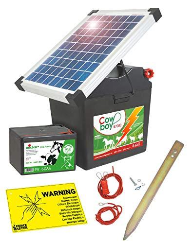 Eider Solar Weidezaungerät B 7000 mit 10 Watt Solarpanel & 9V Batterie 60 Ah - erheblich längere Batterielaufzeit durch effizientes Solarmodul - erste Wahl für Pferde- & Ponyzaun
