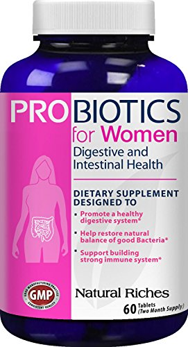 Probiotics for Women Supplement by Natural Riches - Supports Immune System Booster Function, Promotes Colon Health & Digestive System - Replenishes Flora After Antibiotic Use - 60 Tablets