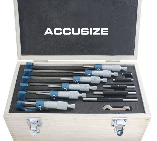 Accusize Industrial Tools 0-150 mm Precision M-Type Metric Outside Micrometer 6 Pc Set, Eg00-9150