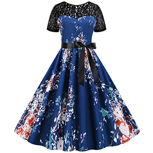 Learn More About Witspace Women Vintage Patchwork Lace Short Sleeve Casual Evening Party Prom Dress