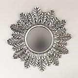 Rococo Espejo Decorativo Redondo Catalina de 80x80cm en Plata (Envejecida)
