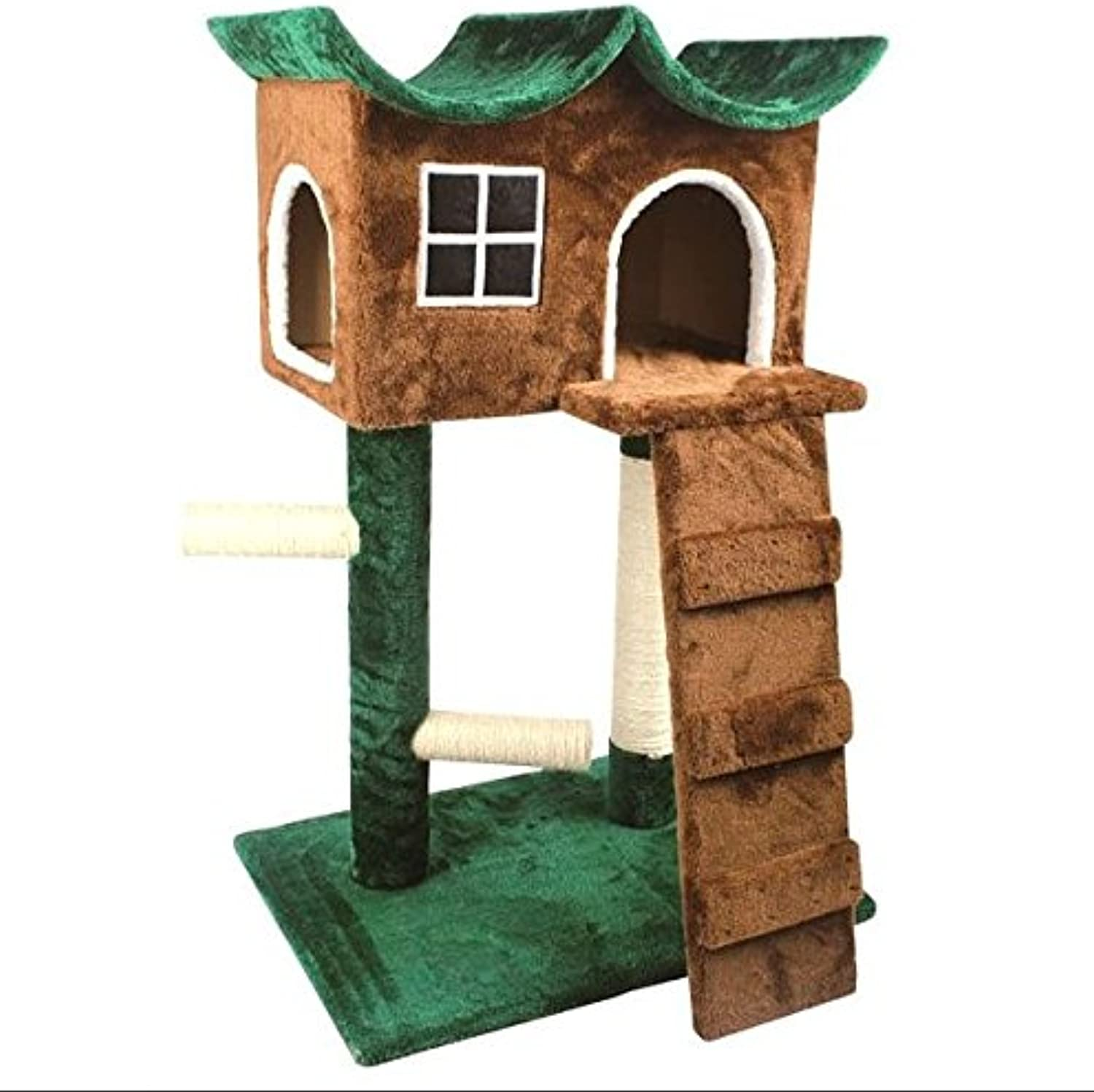 Amazing Cat Condo Tower  Multiple Resting Place For Your Feline Friend  Tree House Design  Made From Flakeboard, Sisal, And Plush
