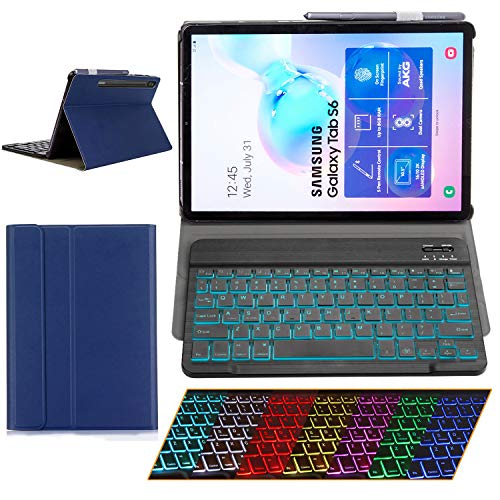 Samsung Galaxy Tab S6 2019 Case with Keyboard Backlights Ultra Thin PU Leather Slim Folio Stand Cover Removable Wireless Bluetooth Backlit Keyboard Case for Galaxy Tab S6 T860 T865 T867 (Blue)