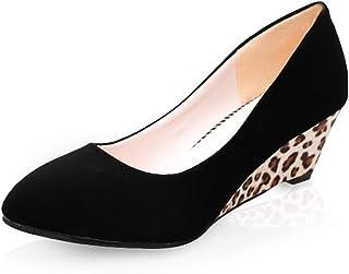 パンプス ママシューズ レデース ウェッジソール レオパード 履きやすい 歩きやすい 冠婚葬祭 フォーマル カジュアル 痛くない 美脚 滑り止め 婦人用 ブラック 黒