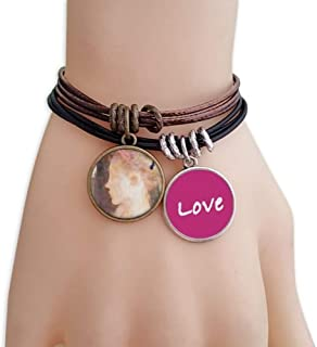 Side Beauty Girl XJJ Oil Painting Love Bracelet Leather Rope Wristband Couple Set