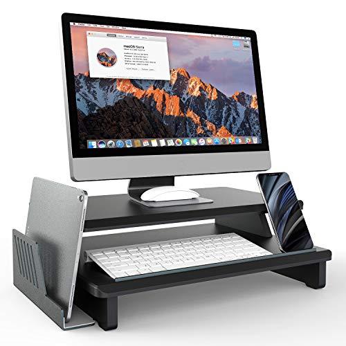TATE GUARD Monitorständer Riser Wood 2 Tier, Desktop-Computerständer mit abnehmbarem vertikalem Laptopständer, Schreibtisch-Organizer Ständer für PC-Monitor, Laptop, Drucker, Projektor – Schwarz